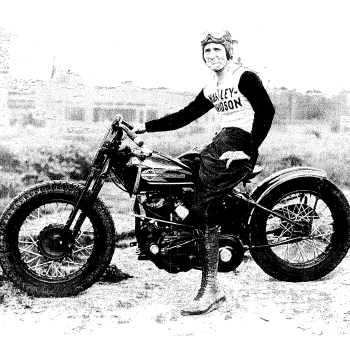Black and White Portrait of Tommy Hays on his Motorcycle