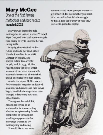 Mary McGee in American Motorcyclist magaine
