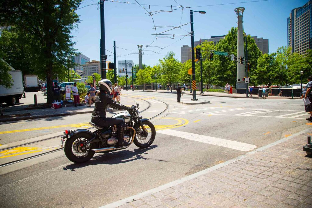 Motorcycle at red light traffic signal