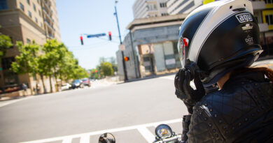 Motorcyclist at red light