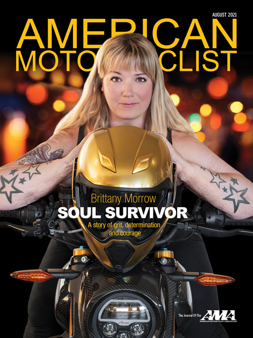 American Motorcyclist August 2021 Cover Featuring Brittany Morrow