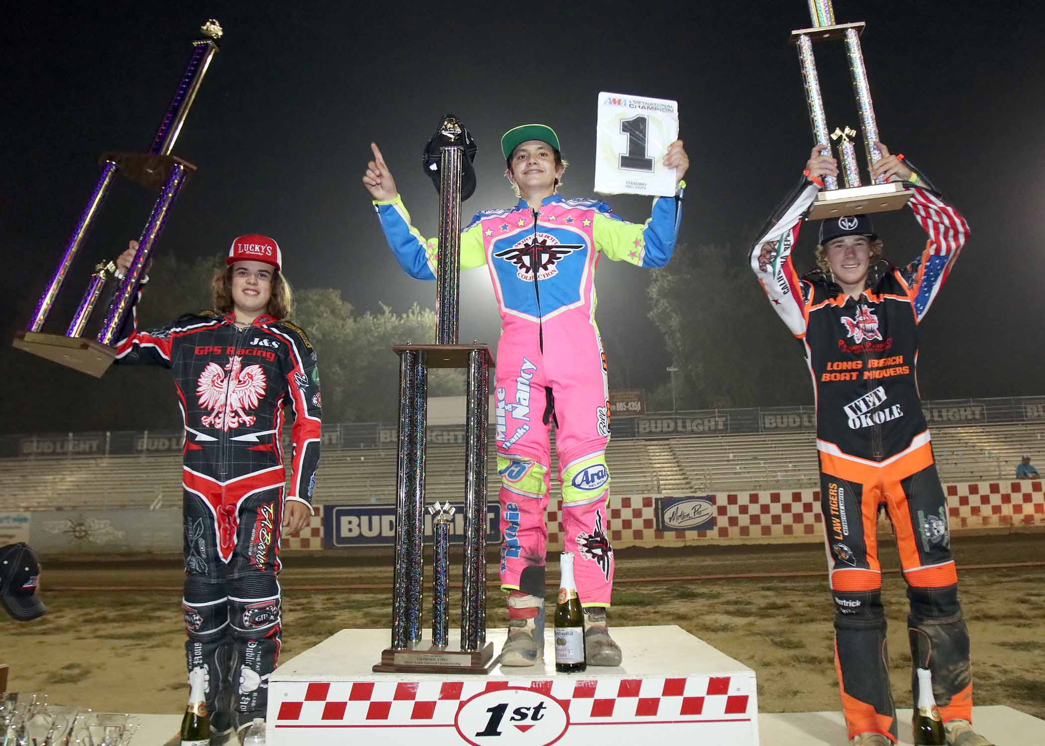 2021 AMA 250cc Youth Speedway National Championship podium at Fast Fridays Motorcycle Speedway