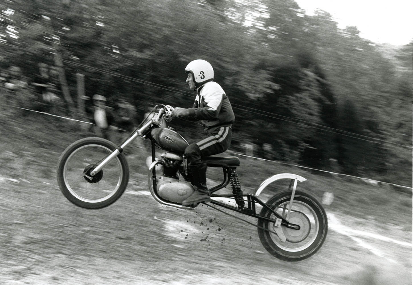 AMA Motorcycle Hall of Famer Earl Bowlby riding a BSA in a hillclimb event