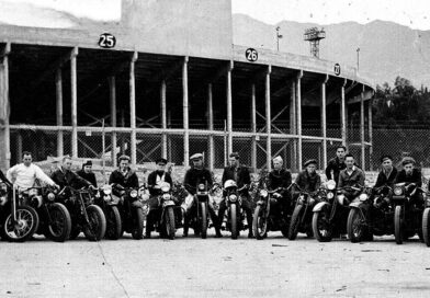 Past members of the Pasadena Motorcycle Club in front of the Rose Bowl